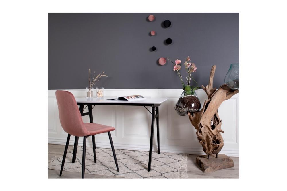Designová jídelní židle Myla, růžová, černé nohy