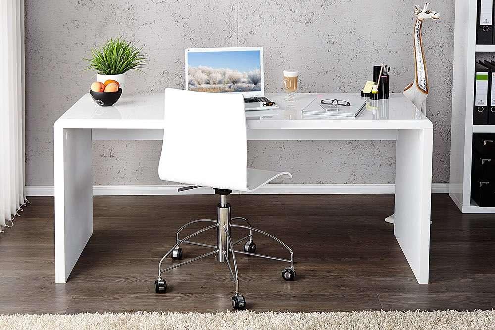 LuxD Kancelářský stůl Barter 120cm bílý vysoký lesk