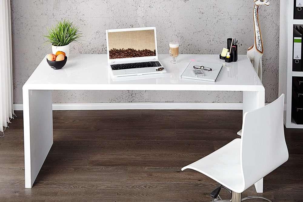 LuxD Kancelářský stůl Barter 140cm bílý vysoký lesk