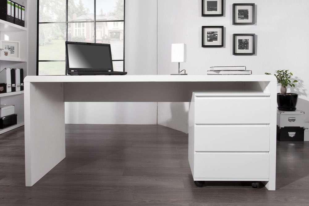LuxD Kancelářský stůl Barter 160cm bílý vysoký lesk