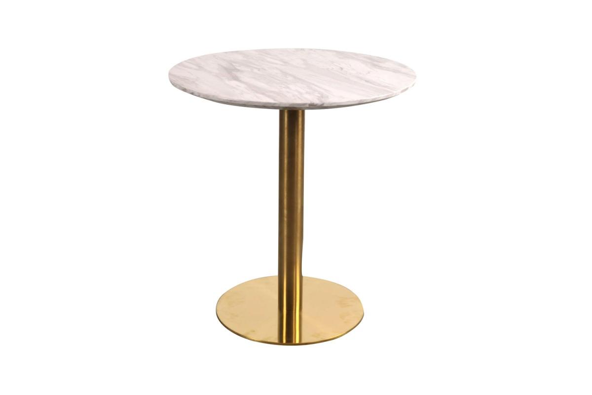 Norddan Kulatý jídelní stůl Kane 70 cm imitace mramoru / mosaz