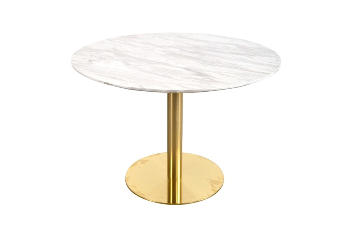 Norddan Kulatý jídelní stůl Kane 110 cm mramor imitace / mosaz
