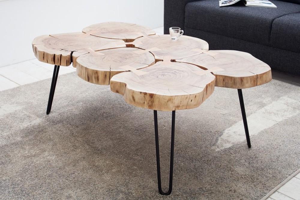LuxD Konferenční stolek z masivu Island II 115cm - Otevřené balení