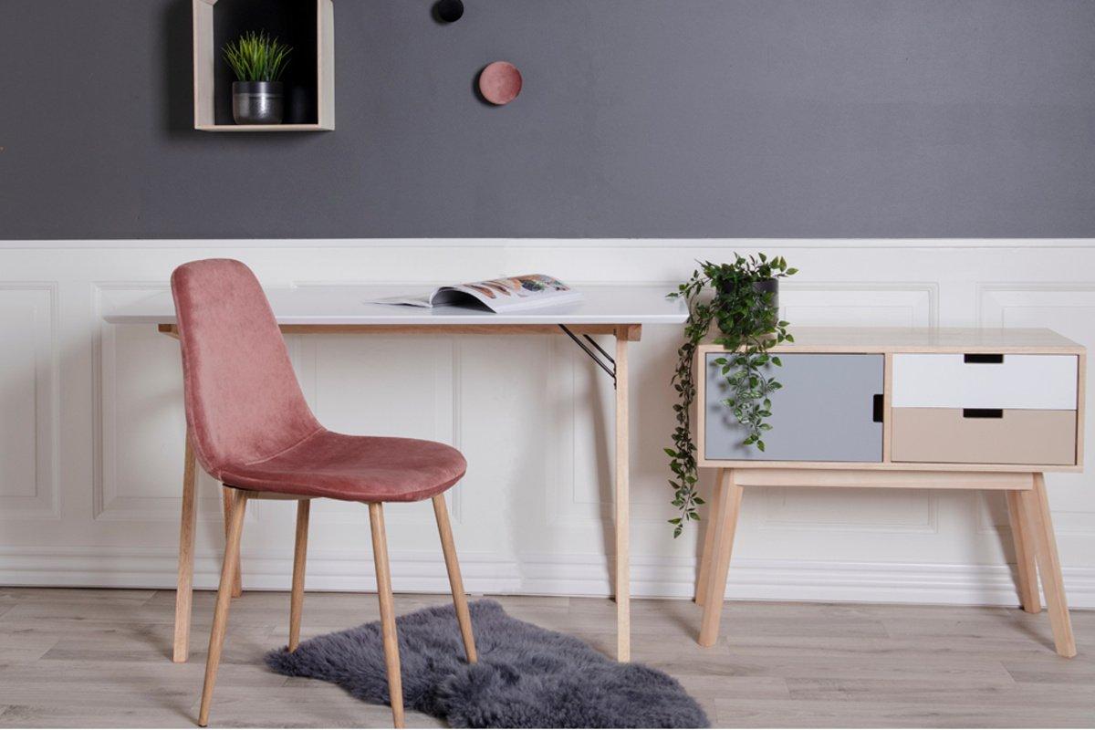 Norddan Designová jídelní židle Myla růžová - světlé nohy