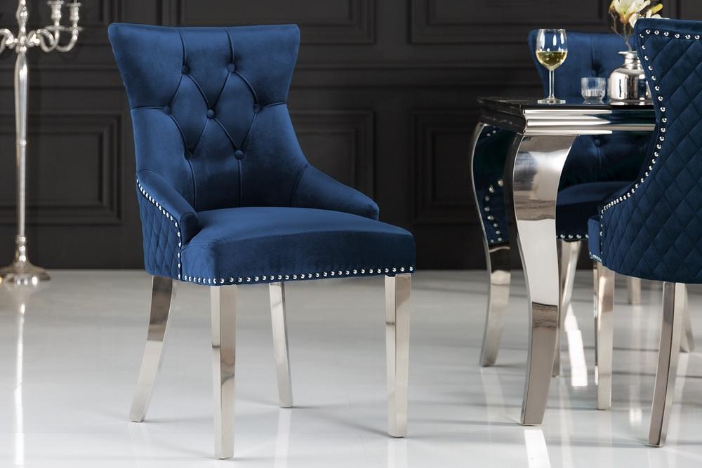 Levně LuxD Designová židle Queen Lví hlava samet královská modrá