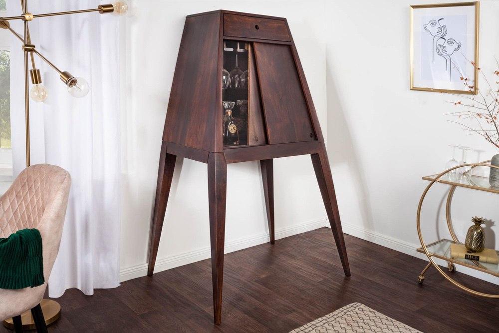 LuxD Designová barová skříňka Tori 150 cm hnědá sheesham