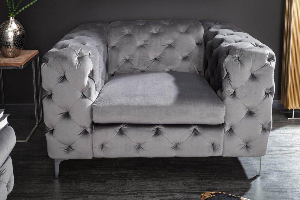 Designové křeslo Rococo šedý samet