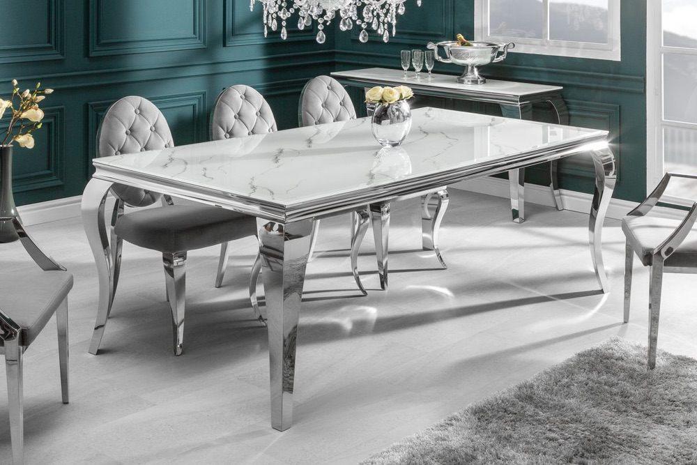 LuxD Designový jídelní stůl Rococo 200 cm stříbrný - mramor