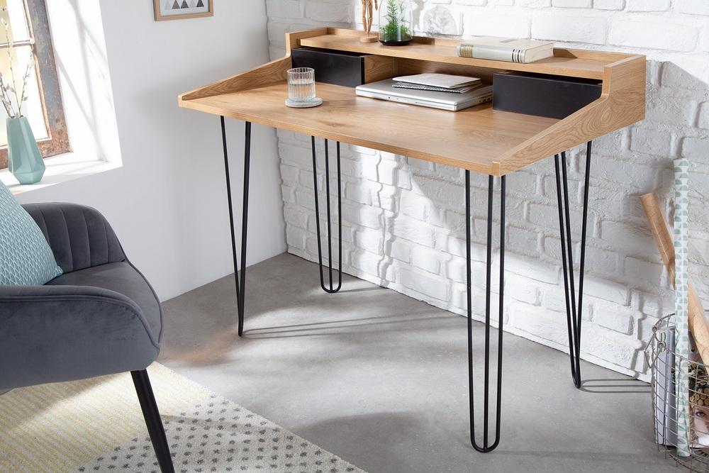 LuxD 25499 Designový psací stůl Kiana II 110 cm vzor dub