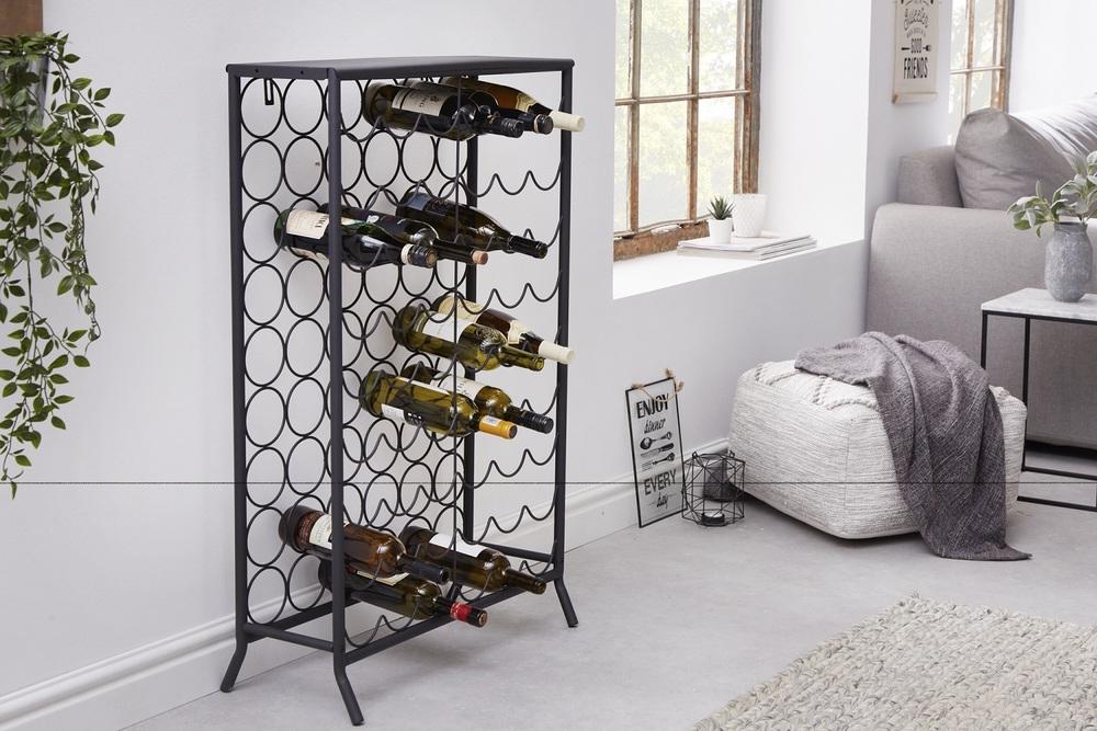 LuxD Designový regál na víno Dalya 102 cm černý