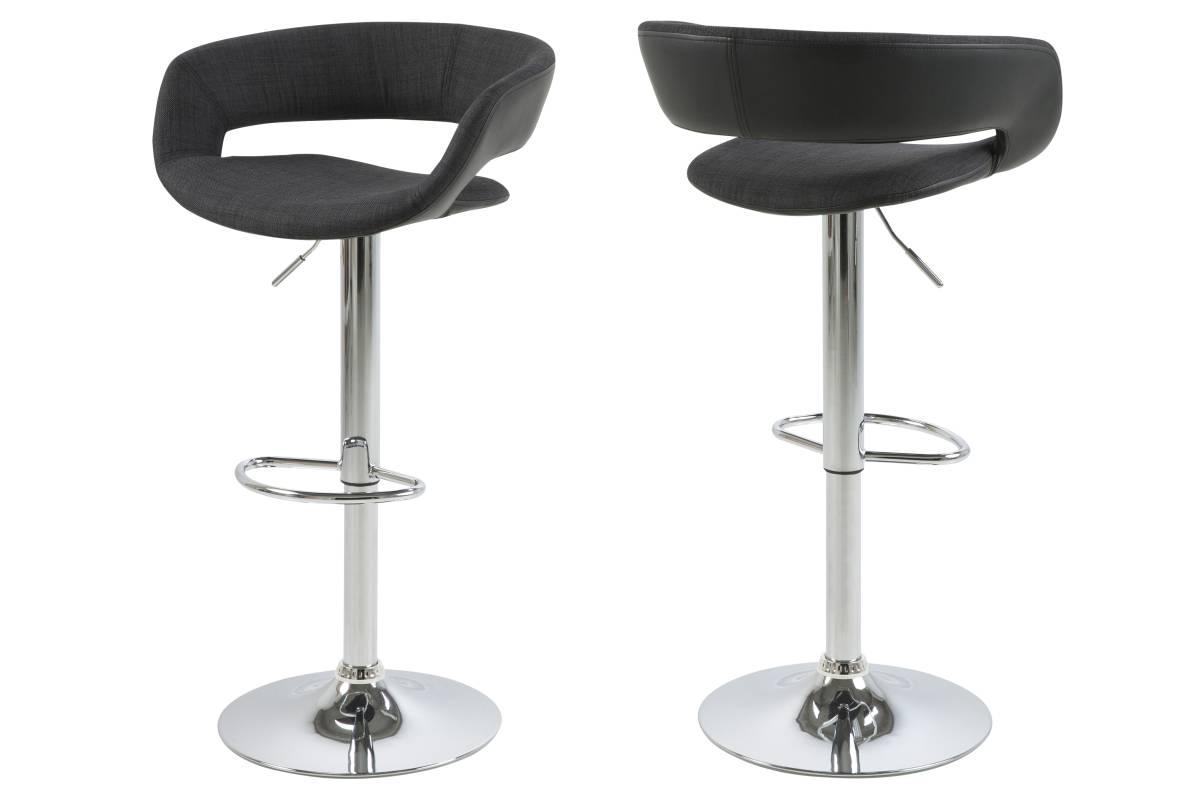 Dkton Designová barová židle Natania antracitová černá a chromová