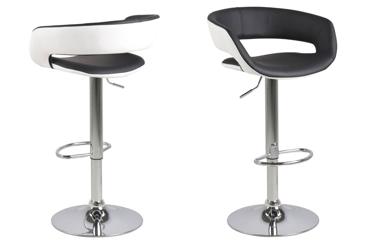 Dkton Designová barová židle Natania bílo černá a chromová