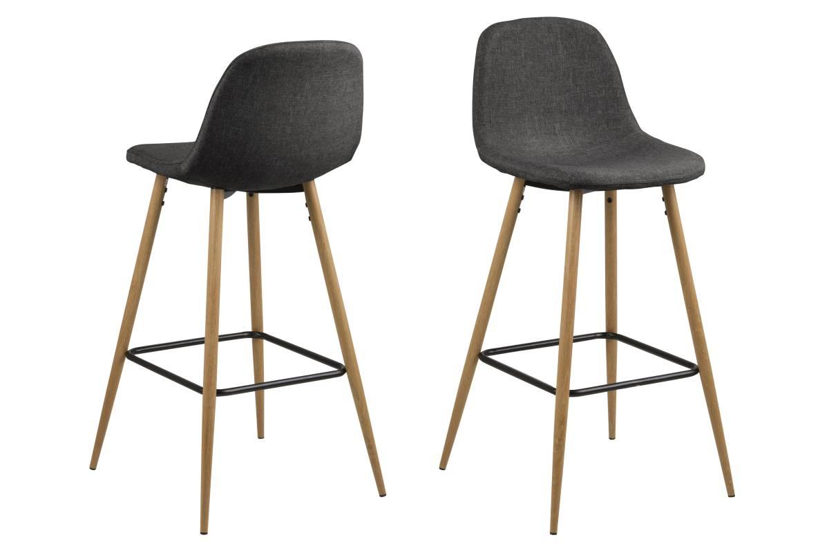 Dkton Designová barová židle Nayeli šedá a přírodní