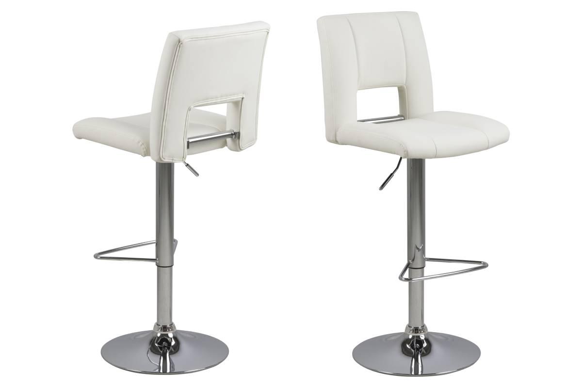 Dkton Designová barová židle Nerine bílá a chromová-ekokůže