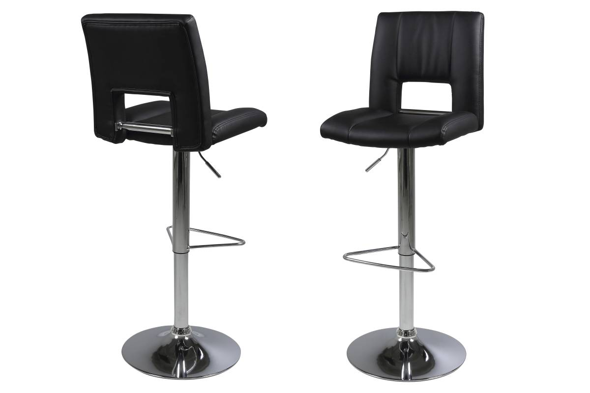 Dkton Designová barová židle Nerine černá a chromová-ekokůže