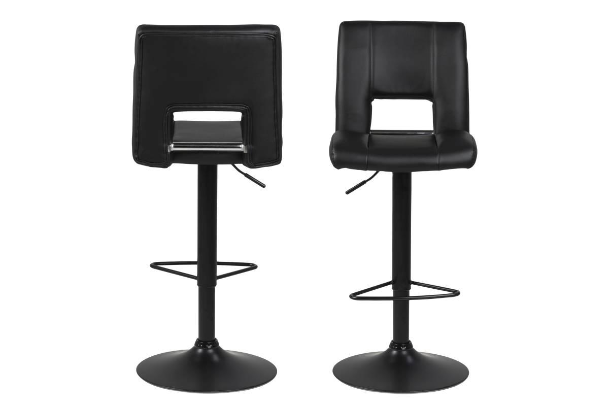 Dkton Designová barová židle Nerine černá-ekokůže