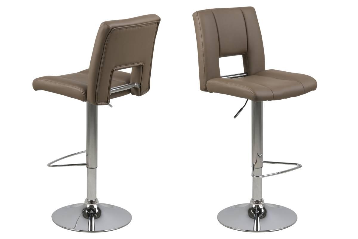 Dkton Designová barová židle Nerine kapučínová a chromová
