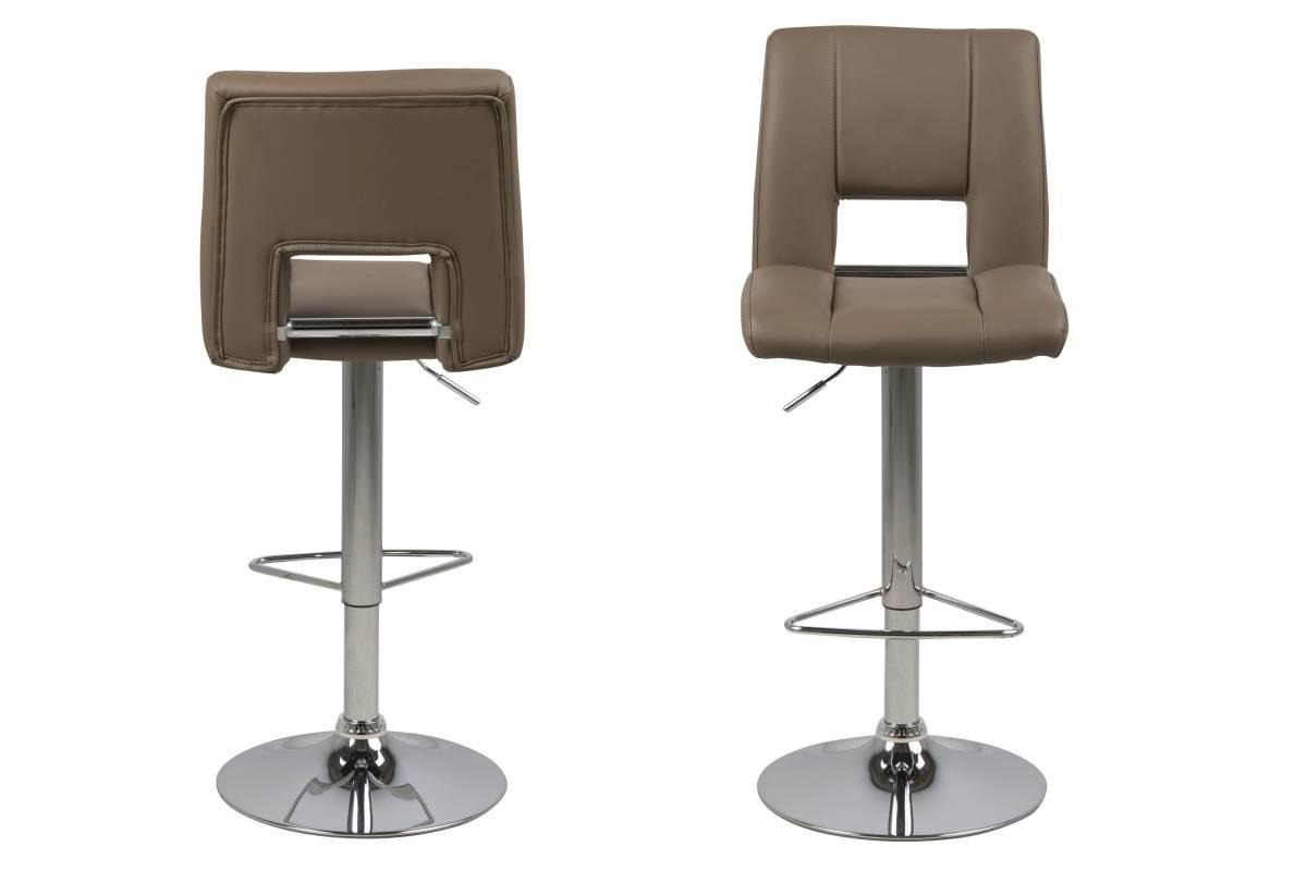 Dkton Designová barová židle Nerine kapučínová a chromová-ekokůže