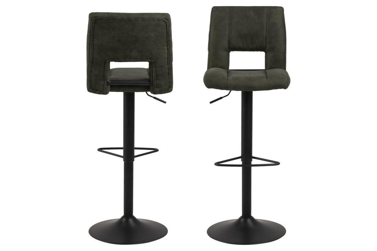 Dkton Designová barová židle Nerine olivově zelená a černá