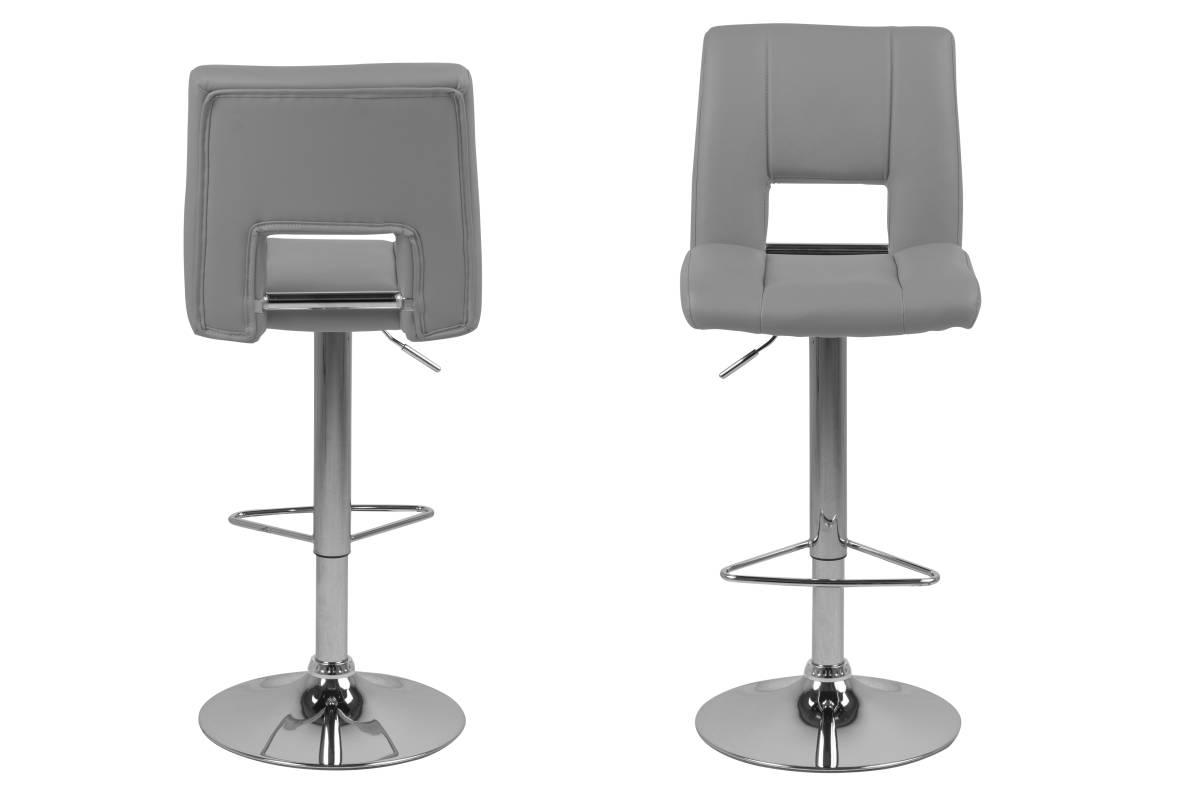 Dkton Designová barová židle Nerine šedá a chromová-ekokůže