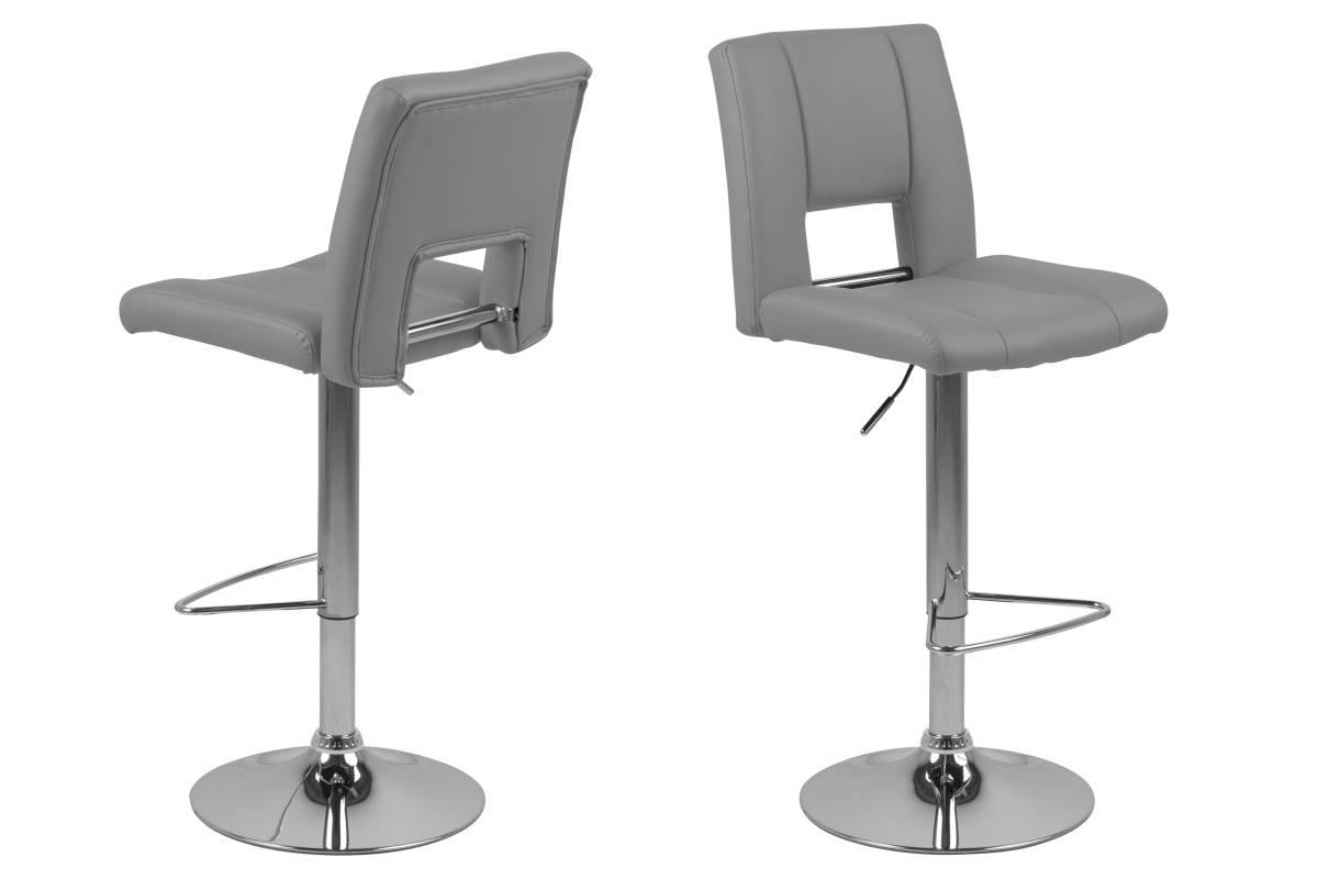 Dkton Designová barová židle Nerine šedá a chromová