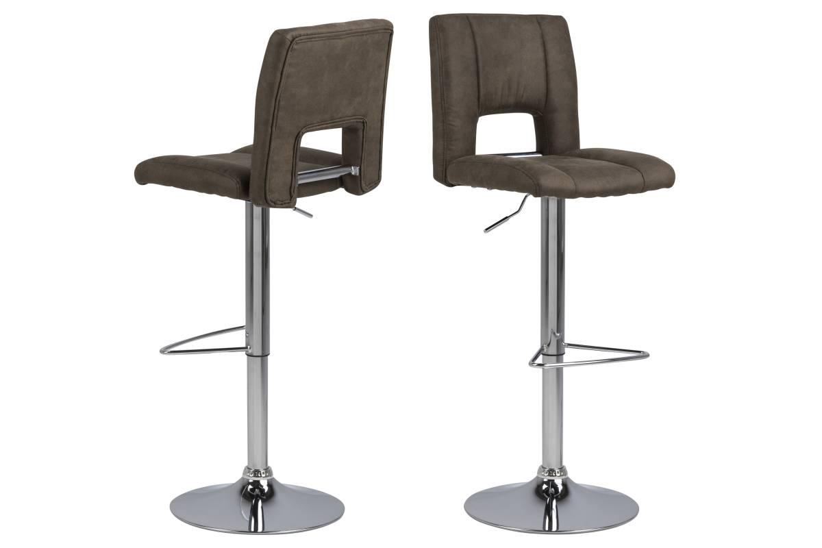 Dkton Designová barová židle Nerine světle hnědá a chromová