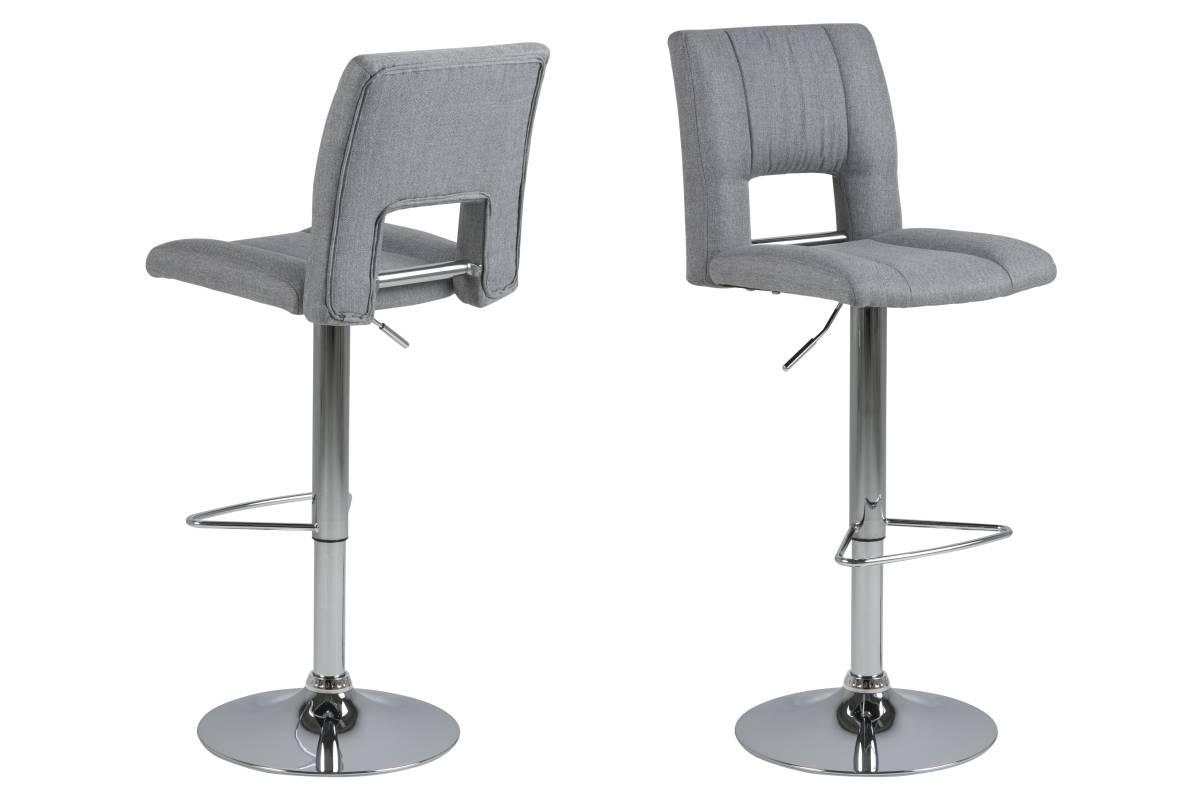 Dkton Designová barová židle Nerine světle šedá a chromová