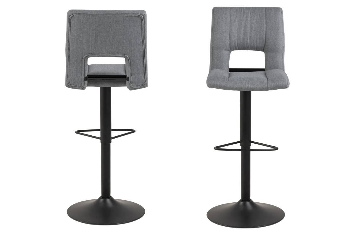 Dkton Designová barová židle Nerine světle šedá a černá-tkanina