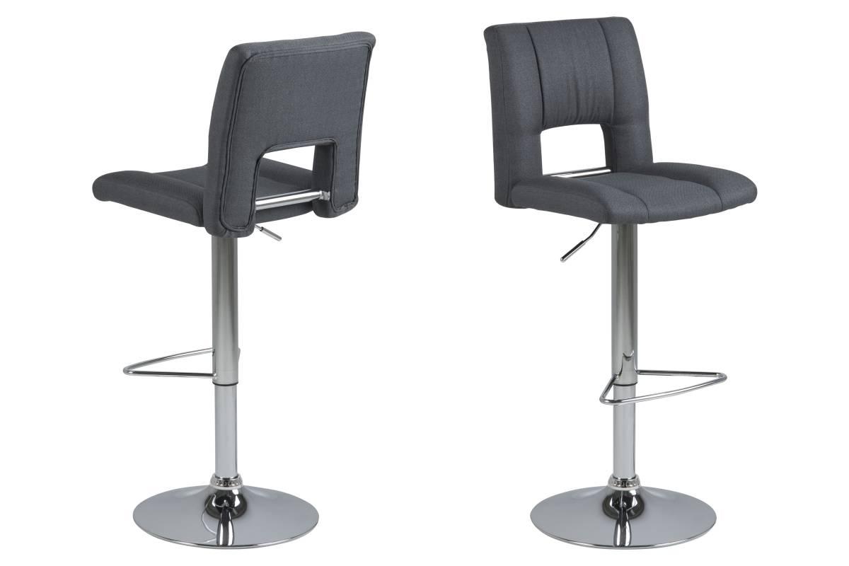 Dkton Designová barová židle Nerine tmavě šedá a chromová-tkanina
