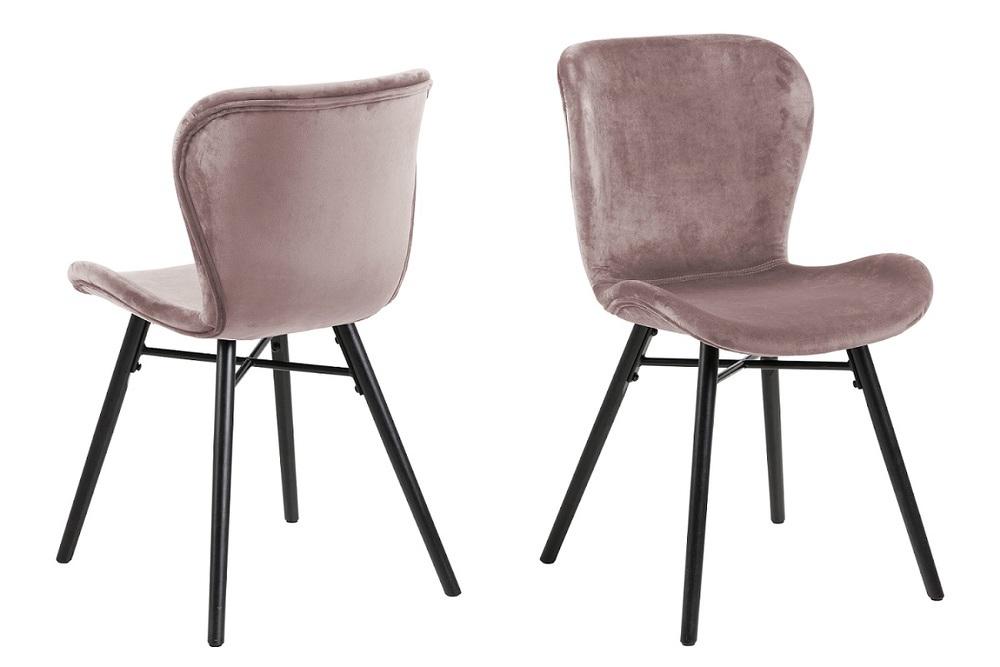 Dkton Designová jídelní židle Alejo popelavá růžová