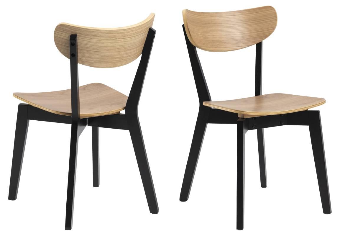 Dkton Designová jídelna židle Nieves černá a přírodní