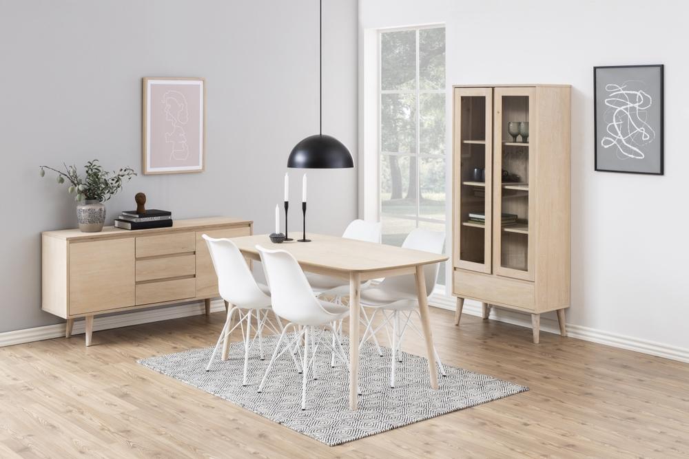 Dkton Jídelní stůl Naiara 150 cm dub bílý - II. třída