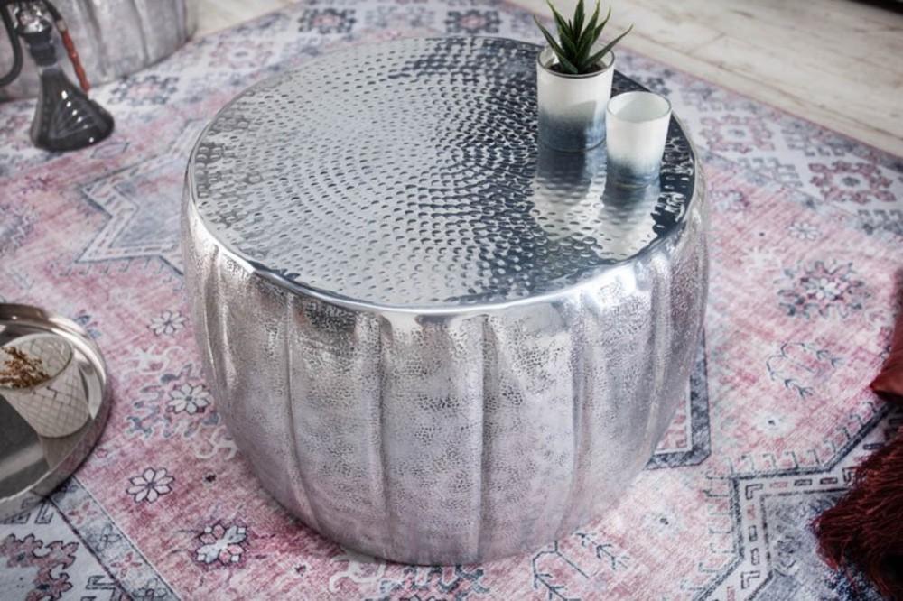 Designový konferenční stolek Maroko 55 cm stříbrná barva