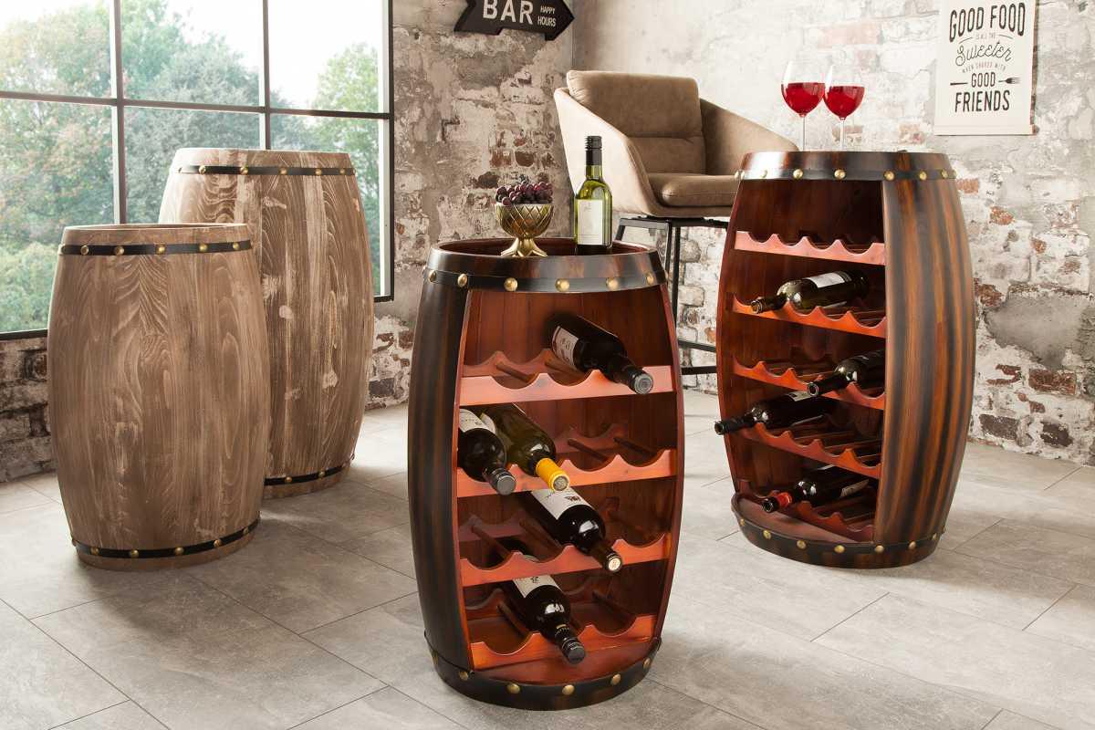 Levně LuxD Regál na víno Reed 60 cm, kávový
