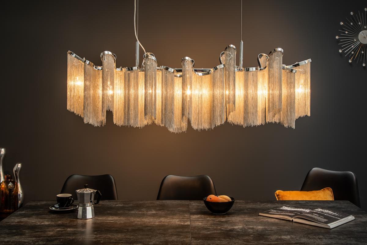 Levně LuxD 21139 Designové závěsné svítidlo Anabelle, 118 cm, stříbrné závěsné svítidlo