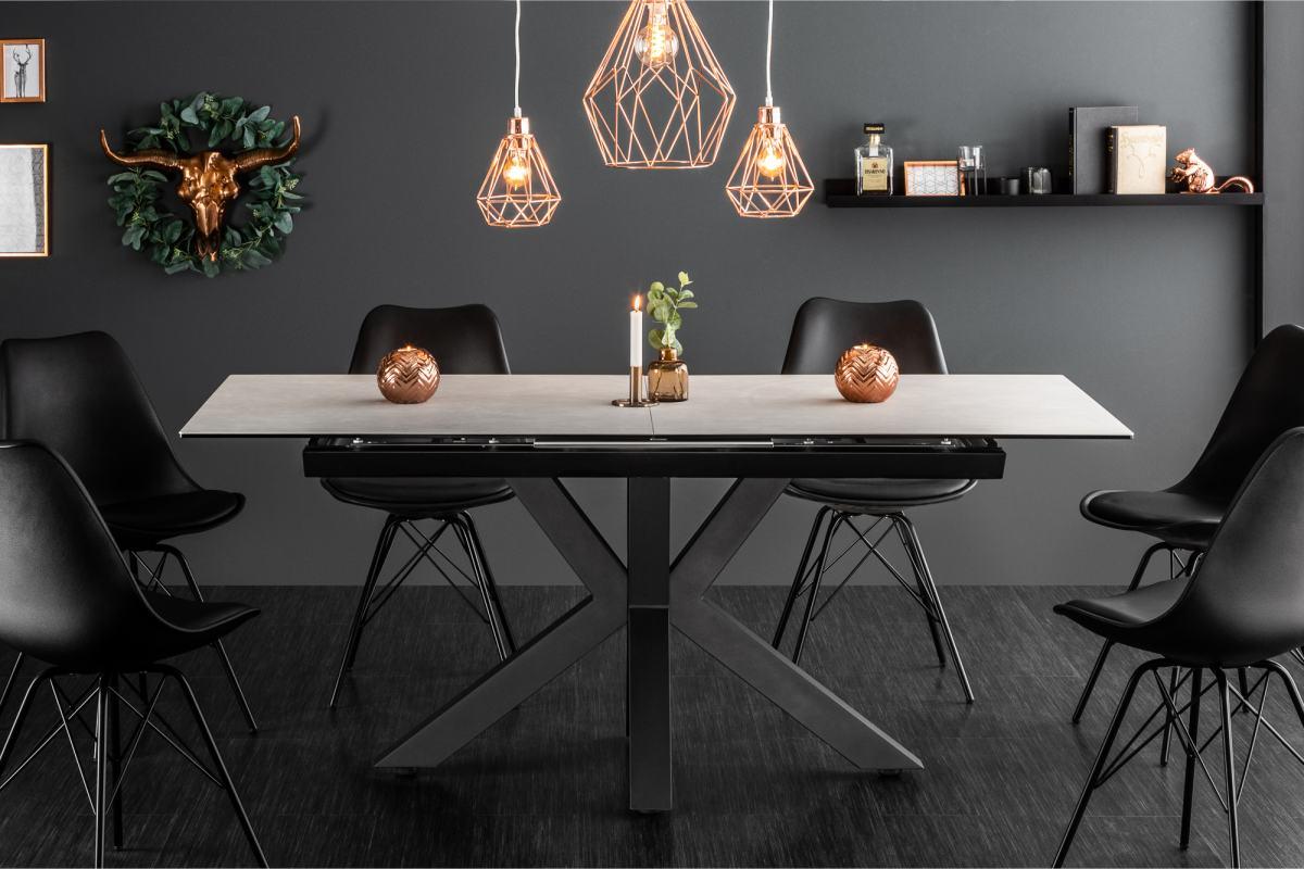 LuxD Designový jídelní stůl Zariah, 180-225 cm, betonový vzhled