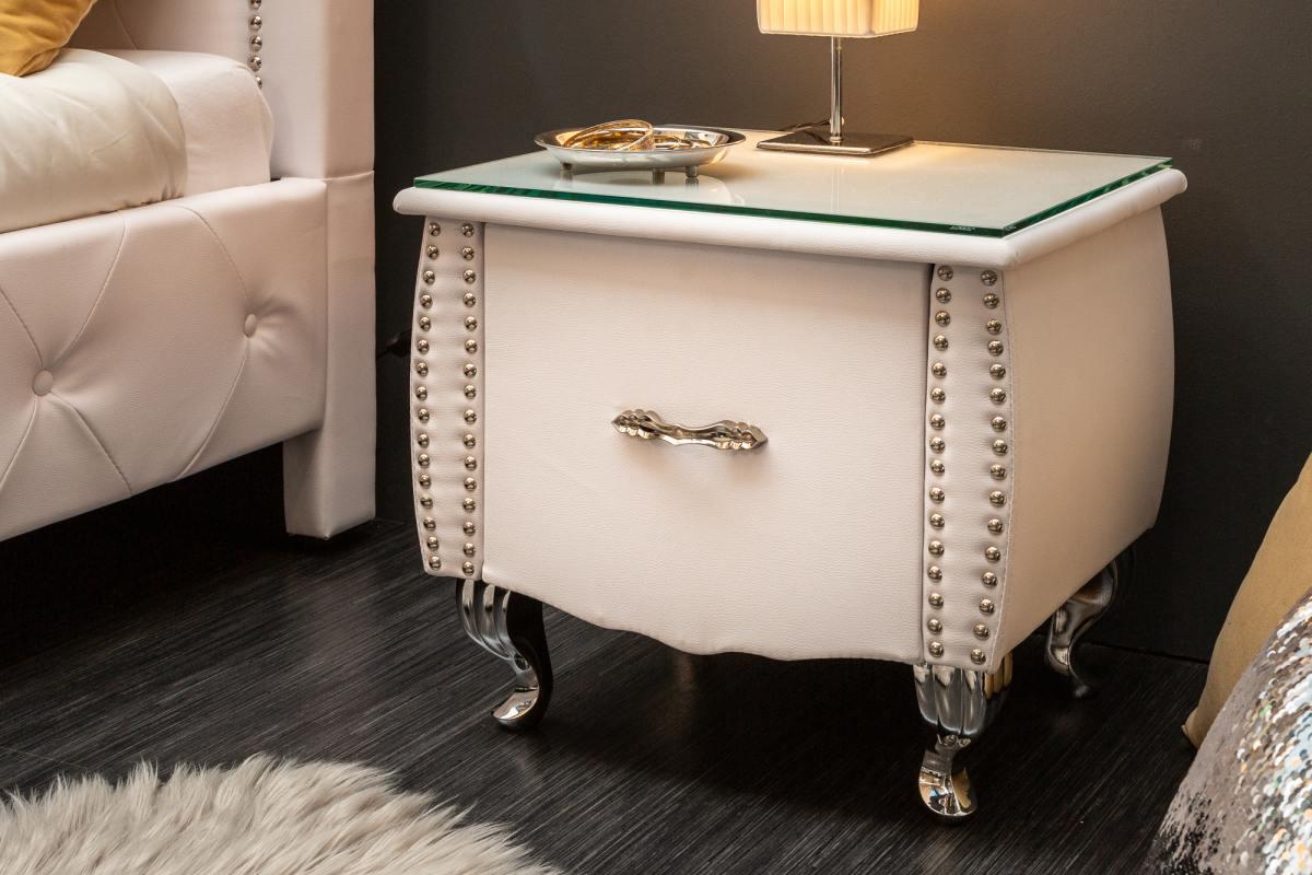 LuxD Noční stolek Spectacular, 45 cm, bílý