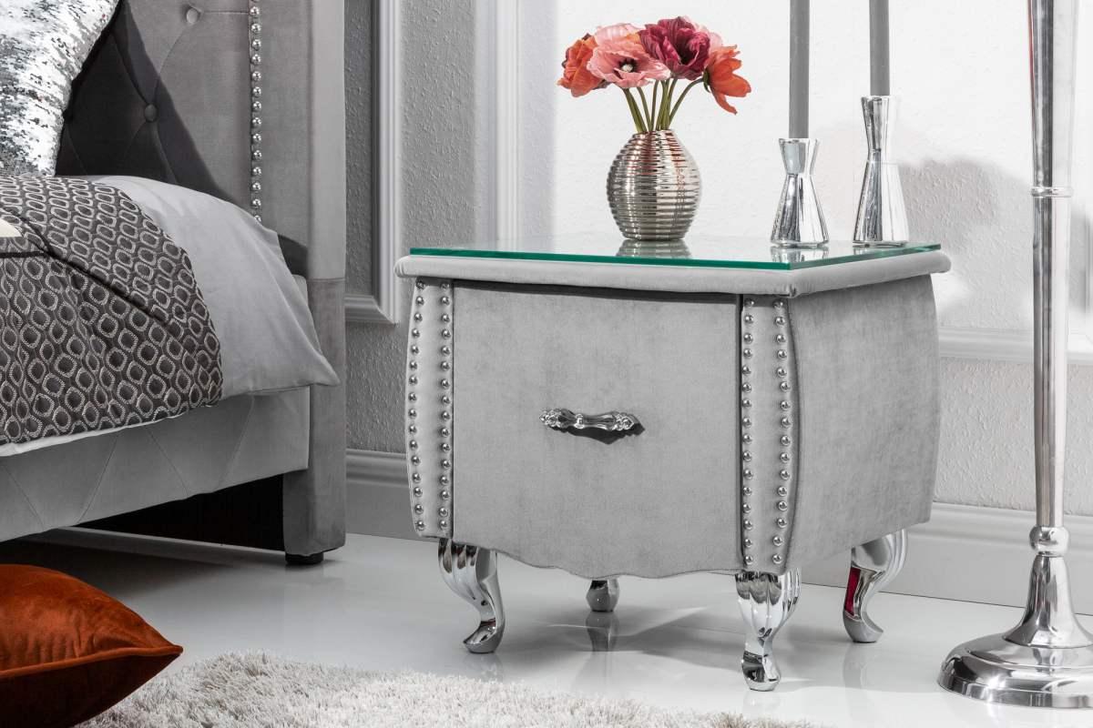 LuxD Noční stolek Spectacular, 45 cm, stříbrno-šedý