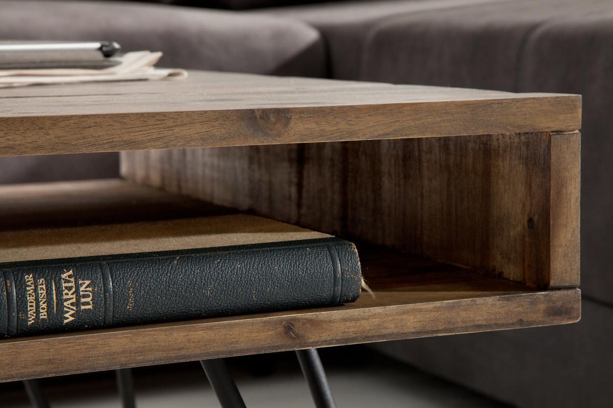 Konferenční stolek Shayla, 110 cm, šedá akácie - II. třída (RP)