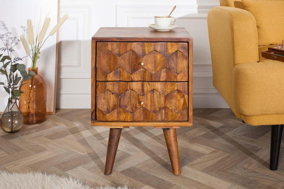 Designový noční stolek Justice, 40 cm, sheesham