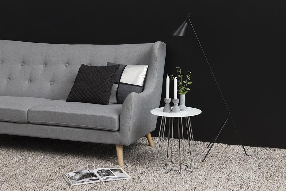 Levně Dkton Moderní odkládací stolek Ahmed bílá / chromová