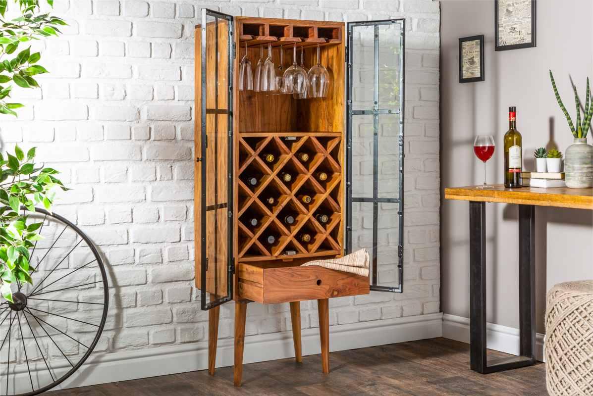 LuxD Regál na víno Winebar 145 cm akácie