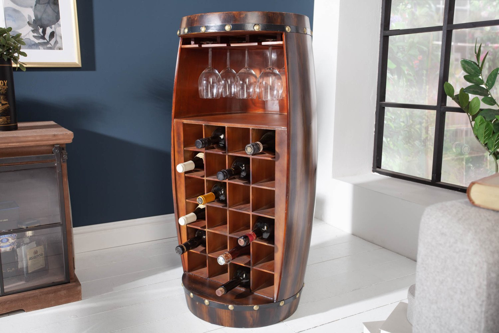 LuxD Regál na víno Winebar 97 cm hnědý