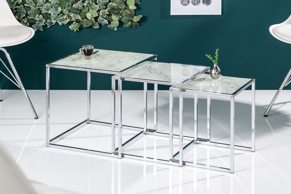 Levně LuxD Set odkládacích stolků Factor sklo-mramor 3 ks