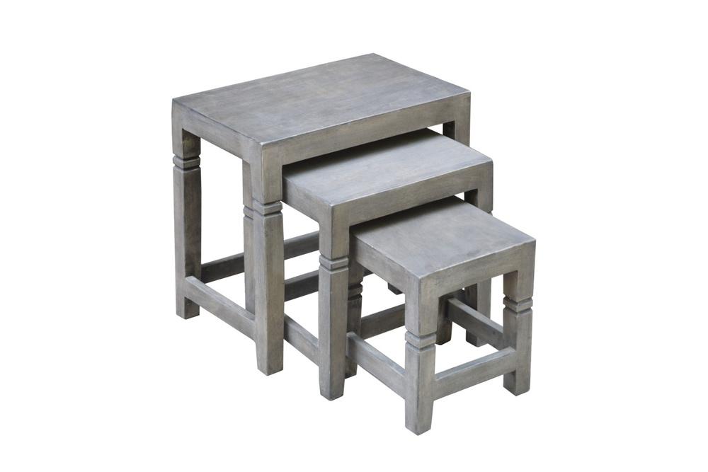 Set 3 odkládacích stolků Harlow 45 cm šedá akácie
