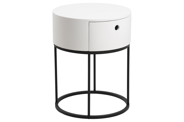 Dkton Stylový noční stolek Ariel oválný bílý